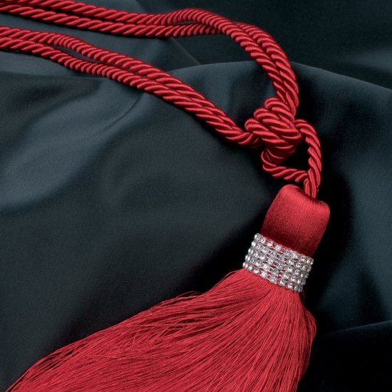 Ciucuri prindere draperii cu swarovski culoare rosie