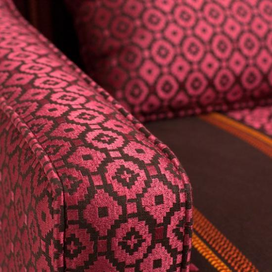 Material tapiterie din in brodat Fez Granate