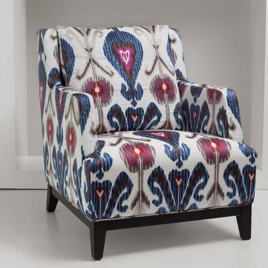 Material textil pentru tapiterie din in brodat Kashmir Azul