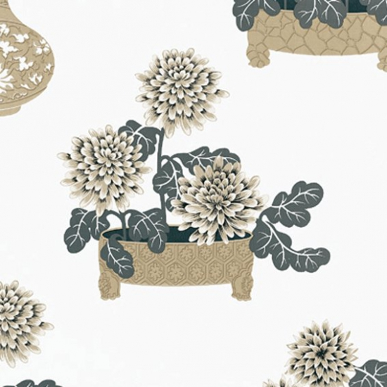 Tapet cu flori Sayonara Beige