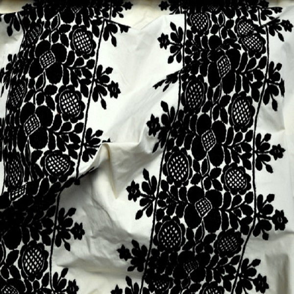 Draperii cu flori brodate Frida Ecru Noir