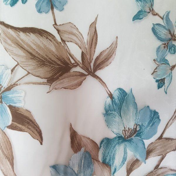 Perdele cu model floral Turquaise