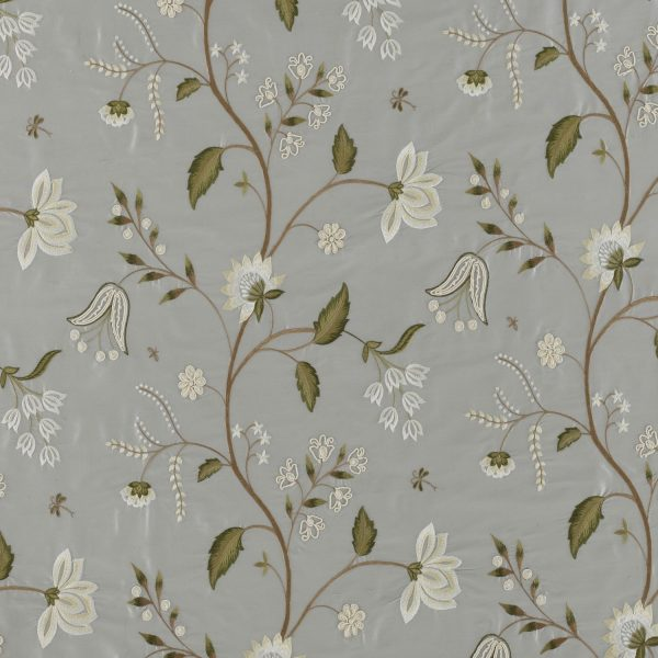 Draperii florale din matase naturala Silwood Silk French Grey