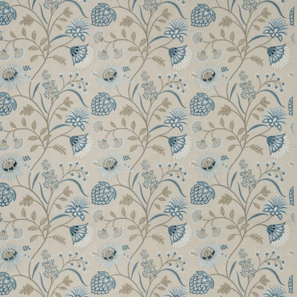 Draperii florale brodate Siam Linen Eton Blue