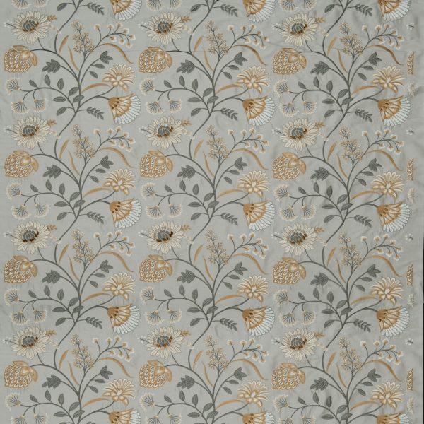 Draperii din matase brodate Siam Silk Frost/Ochre