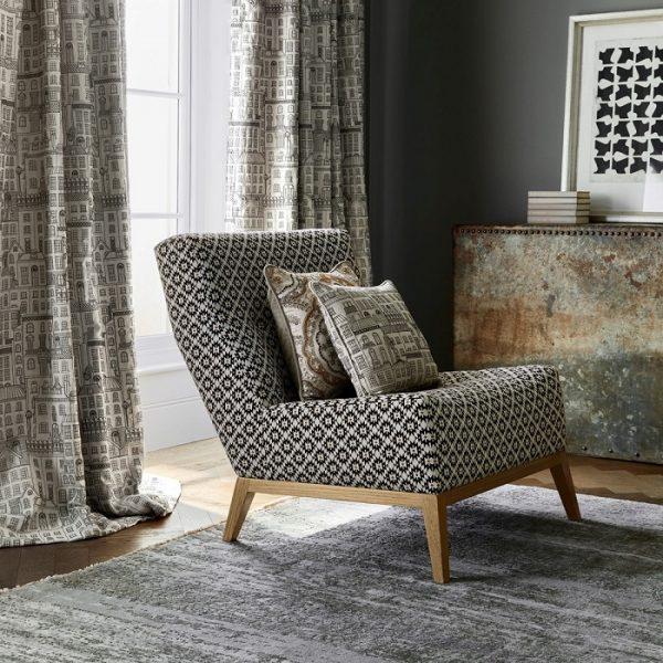 Material tapiterie cu motive geometrice Picadilly Black