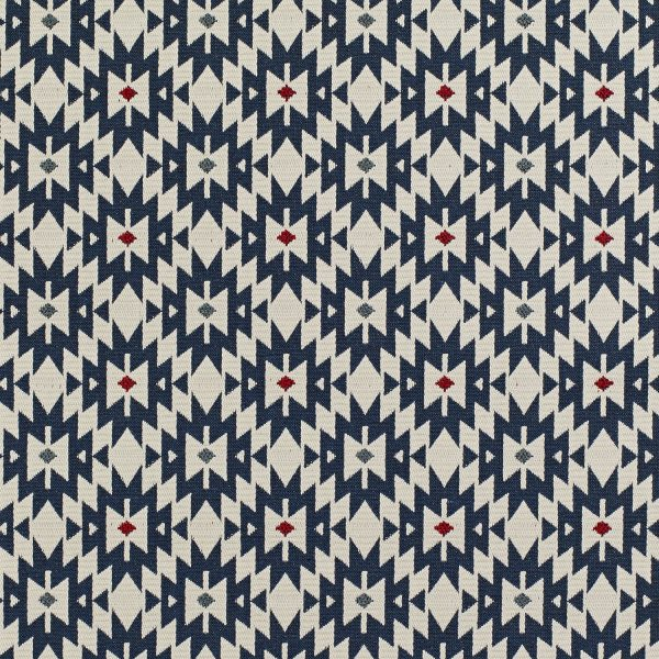 Material tapiterie cu motive geometrice Piccadilly Blue