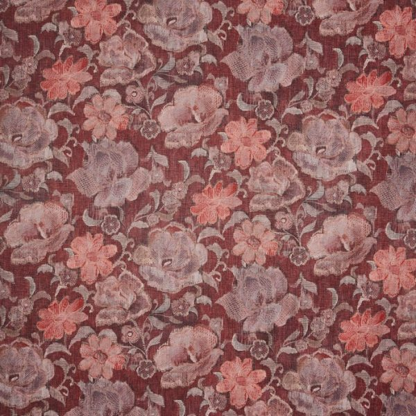 Material tapiterie cu model floral Labyrinth Ruby