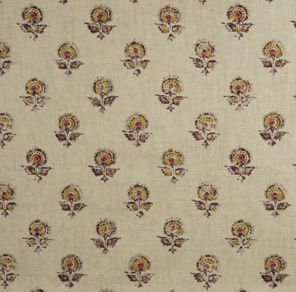 Material textil natural cu model floral de mici dimensiuni Konkani 2