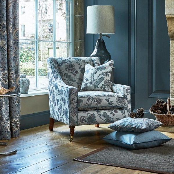 Material tapiterie cu design floral Kenwood Denim
