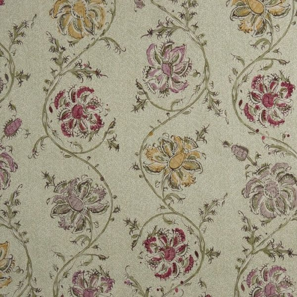 Material textil natural cu model floral Urdu 2