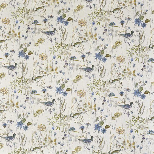 Draperii din bumbac, imprimat cu elemente florale Wetlands Saxon Blue