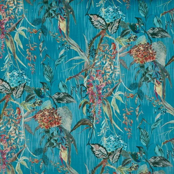 Material tapiterie cu design floral Botanist Peacock
