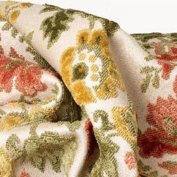 Catifea jacquard pentru tapiterie Blois Olive-Rose