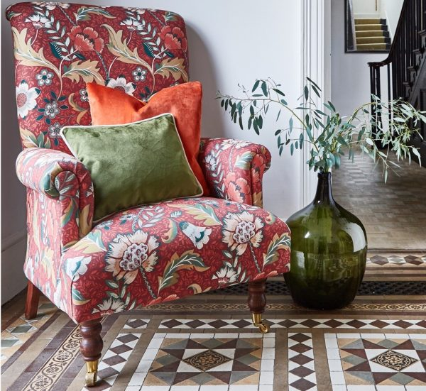 Material textil floral pentru tapiterie Folklore Russet