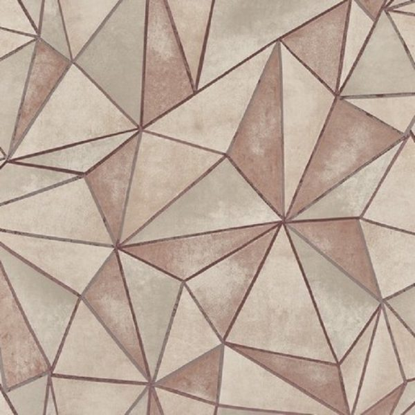 Tapet forme geometrice Shard Rose Quartz