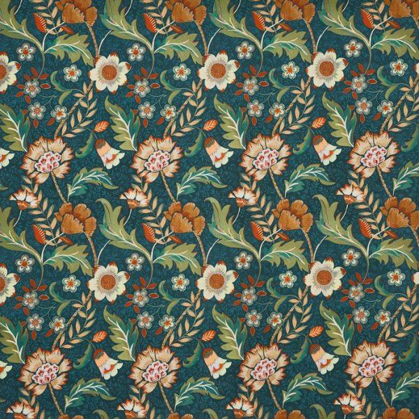 Material textil floral pentru tpiterie Folklore Peacock