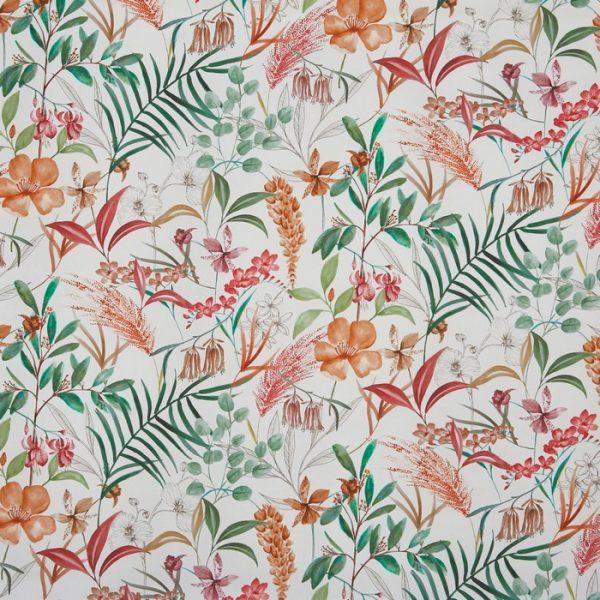 Draperii din bumbac organic cu design floral Honeysuckle Rosemary
