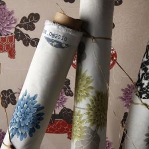 Draperii din bumbac cu flori Nobu