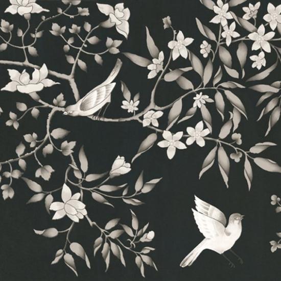 Tapet cu model floral Vivace Negro
