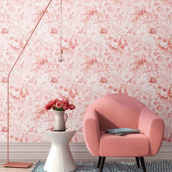 Tapet floral Berenice Borgona