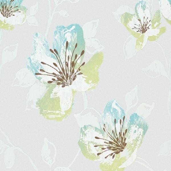 Perdele cu flori Turquoise