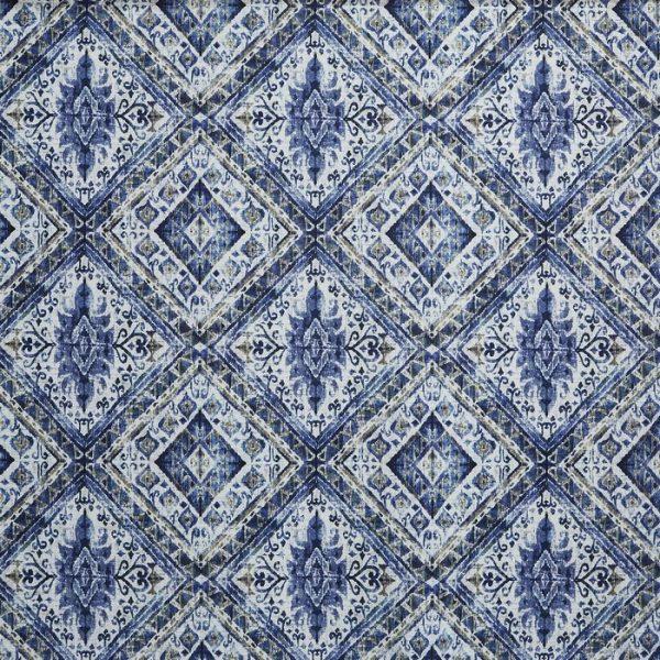 Material tapiterie cu model geometric Banyan Indigo