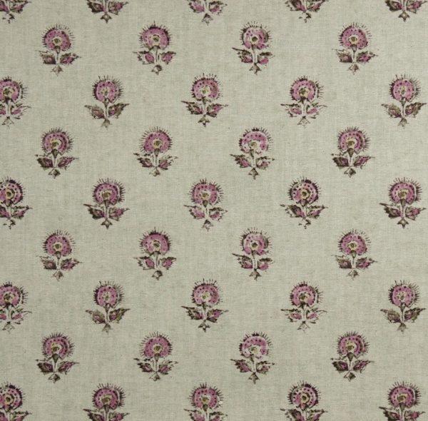 Material textil natural cu model floral de mici dimensiuni Konkani 3