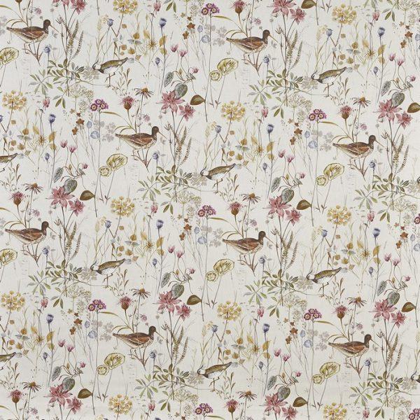 Draperii din bumbac imprimate cu elemente florale Wetlands Rosemist
