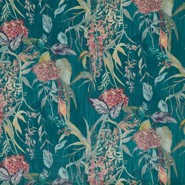Material tapiterie cu design floral Botanist Cerulean
