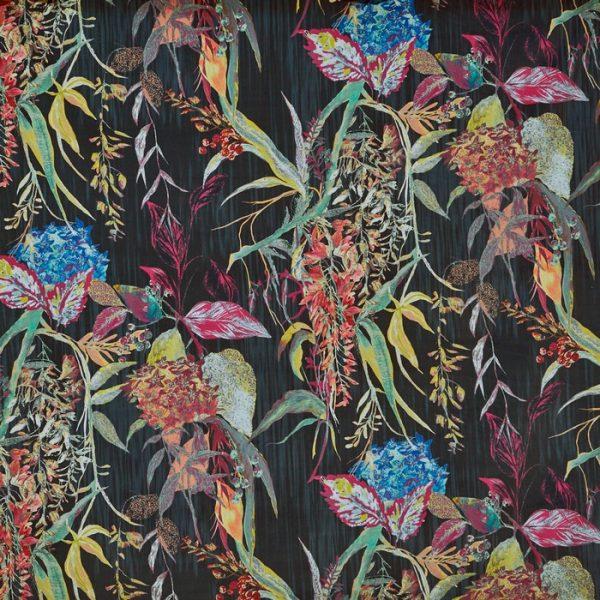material tapiterie cu design floral botanist ebony