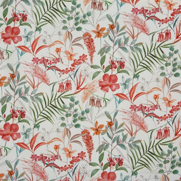 Draperii din bumbac organic cu design floral Honeysuckle Cranberry