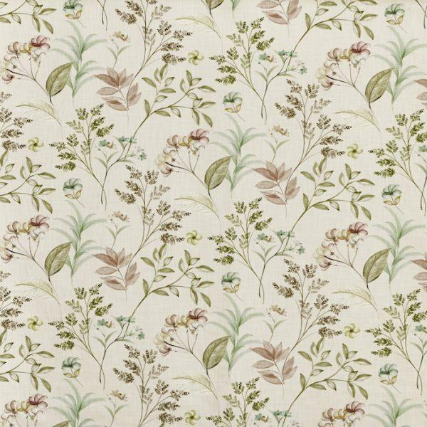 Material textil cu design floral pentru tapiterie Verbena Peppermint