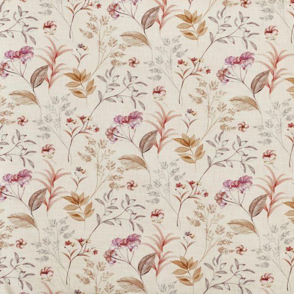 Material textil cu design floral pentru tapiterie Verbena Rhubarb