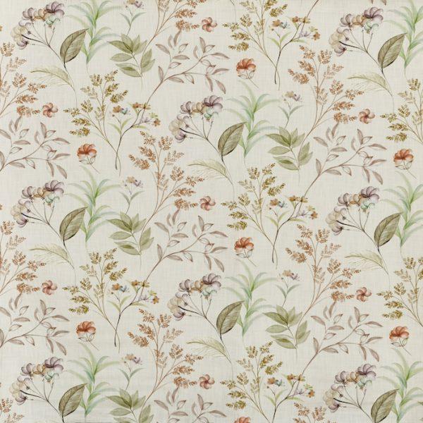 Material textil cu design floral pentru tapiterie Verbena Walnut